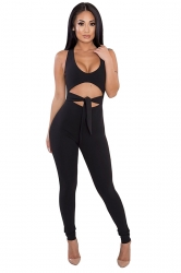 Halter Deep Round Neck Sleeveless Back Zipper Cut Out Jumpsuit Black