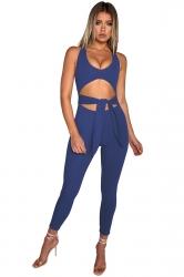 Womens Halter Round Neck Back Zipper Cut Out Jumpsuit Sapphire Blue