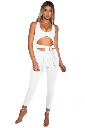 Sexy Halter Deep Round Neck Bandage Back Zipper Cut Out Jumpsuit White