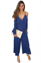 Womens Cold Shoulder Spaghetti Strap Wide Leg Jumpsuit Sapphire Blue