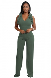 Womens Sexy V-Neck Ruffle Sleeveless Wide Leg Jumpsuit Army Green