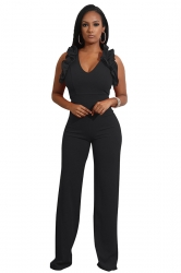 Womens Sexy V-Neck Ruffle Sleeveless Wide Leg Plain Jumpsuit Black