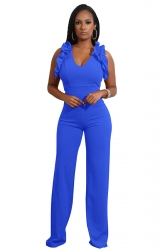 Womens Sexy V-Neck Ruffle Sleeveless Wide Leg Jumpsuit Light Blue