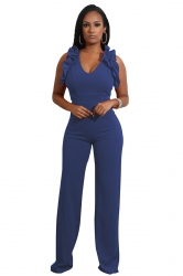 Womens Sexy V-Neck Ruffle Sleeveless Wide Leg Jumpsuit Sapphire Blue