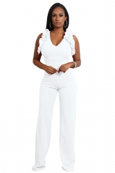 Womens Sexy V-Neck Ruffle Sleeveless Wide Leg Plain Jumpsuit White