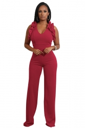 Womens Sexy V-Neck Ruffle Sleeveless Wide Leg Plain Jumpsuit Ruby