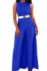 Womens Elegant Overlay High Waisted Split Wide Leg Jumpsuit Blue