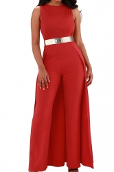 Womens Elegant Overlay High Waisted Split Wide Leg Jumpsuit Red