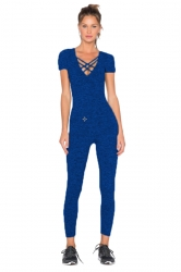 Womens Close-Fitting Cut Out V-Neck Short Sleeve Plain Jumpsuit Blue