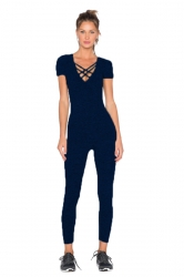 Womens Close-Fitting Cut Out V-Neck Short Sleeve Plain Jumpsuit Black