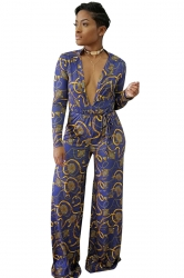 Womens Sexy V-Neck Waist Tie Wide Leg Printed Jumpsuit Light Blue