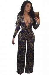 Womens Sexy V-Neck Waist Tie Wide Leg Printed Jumpsuit Sapphire Blue