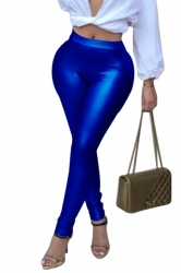 Womens Sexy Skinny Elastic High Waisted Plain Liquid Leggings Blue