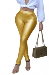 Womens Sexy Skinny Elastic High Waisted Plain Liquid Leggings Gold