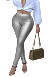 Womens Sexy Skinny Elastic High Waisted Plain Liquid Leggings Silver
