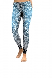 Womens Elastic Skinny Ankle Length Sports Printed Leggings Blue