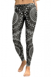 Womens Elastic Skinny Ankle Length Sports Printed Leggings Black
