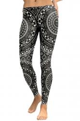 Womens Elastic Skinny Ankle Length Sports Printed Leggings Black