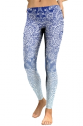 Womens Elastic Skinny Ankle Length Sports Printed Leggings Light Blue