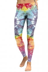 Womens Elastic Skinny Ankle Length Sports Printed Leggings Orange