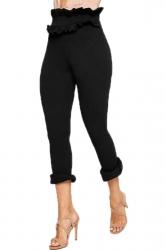 Womens Skinny High Waist Bandage Ruffle Hem Capri Leisure Pants Black