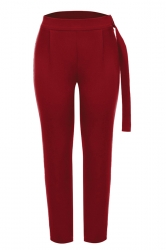 Womens Pleated With Belt Loose Suit Trousers Pencil Pants Ruby