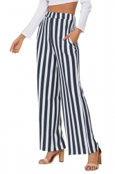 Womens High Waist Wide Legs Vertical Stripe Leisure Pants Navy Blue