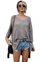 Womens V-Neck Oversized High-Low Slit Knit Plain Sweater Dark Gray