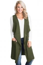 Womens Casual Turndown Collar Pocket Long Cardigan Vest Army Green