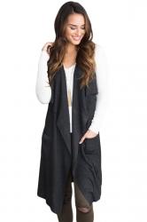 Womens Casual Turndown Collar Pocket Long Cardigan Vest Black