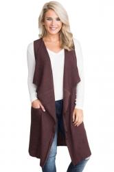 Womens Casual Turndown Collar Pocket Long Cardigan Vest Coffee
