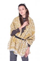 Womens Vintage Shawl Ethnic Fringe Printed Scarf Yellow