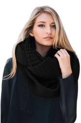 Womens Warm Chunky Cable Knit Shawl Collar Plain Scarf Black