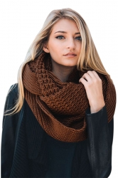 Womens Warm Chunky Cable Knit Shawl Collar Plain Scarf Brown