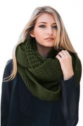 Womens Warm Chunky Cable Knit Shawl Collar Plain Scarf Green