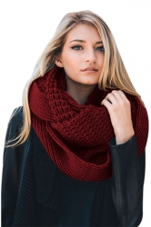 Womens Warm Chunky Cable Knit Shawl Collar Plain Scarf Ruby
