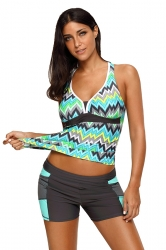 Womens Printed Halter Camisole&Swimwear Bottom Tankini Swimsuit Green