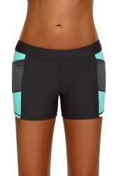 Womens Color Block Sports Boardshort Mesh Swimsuit Bottom Green