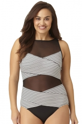 Womens Bandage Stripe Mesh Oversize Cut Out One Piece Swimsuit Gray