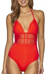 Womens Sexy Deep V-Neck Halter Mesh Backless Plain Monokini Red
