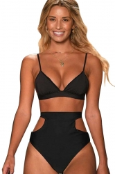 Womens Sexy Bikini Top&Cut Out High Waisted Swimsuit Bottom Black