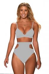 Women Sexy Bikini Top&Cut Out High Waisted Swimsuit Bottom Light Green