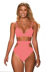 Womens Sexy Bikini Top&Cut Out High Waisted Swimsuit Bottom Pink
