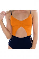 Womens Spaghetti Straps Cut Out Backless One Piece Swimsuit Orange