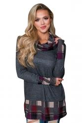 Womens Cowl Neck Long Sleeve Plaid Patchwork Sweatshirt Dark Gray