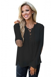 Womens Lace Up Asymmetric Hem Long Sleeve Plain Blouse Black