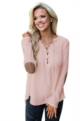 Womens Lace Up Asymmetric Hem Long Sleeve Plain Blouse Pink