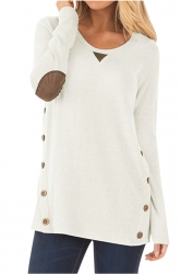 Womens Oversized Long Sleeve Crew Neck Buttons Plain Blouse White