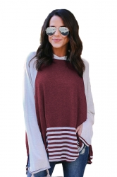 Womens Long Bell Sleeve Color Block High Low Stripe Hem Hoodie Ruby