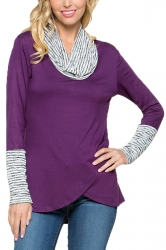 Womens Stripe Cowl Neck Long Sleeve Asymmetrical Hem Sweatshirt Purple